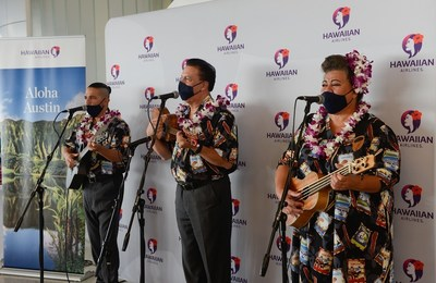 The Hawaiian Airlines Serenaders performing at Austin-Bergstrom International Airport