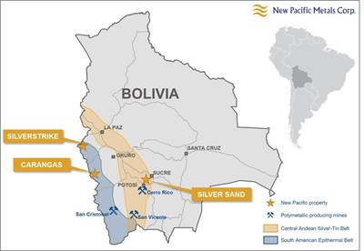 Figure 1: Location of the Carangas Project in the Department of Oruro, Bolivia (CNW Group/New Pacific Metals Corp.)
