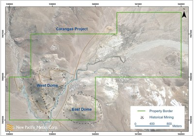 Figure 2: Satellite Imagery of the Carangas Project, Bolivia, including West and East Domes (CNW Group/New Pacific Metals Corp.)