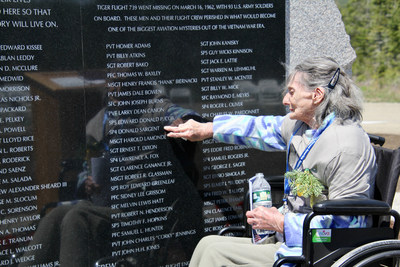"""Josephine Gilpatrick, sister of Donald """"Duckie"""" Sargent, who was aboard Flying Tiger Line Flight 739, and has waited 59 years to see her brother's name in stone."""