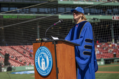 Former Bentley University President Gloria Larson delivers the commencement address to the Class of 2021.