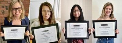 Mindset 2020 winners from left to right: Erin Anderssen, Zosia Bielski, Eva Lam and Samantha Beattie (CNW Group/Canadian Journalism Forum on Violence and Trauma)