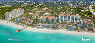 Aerial views of the future Sandals Dunn's River featuring 48 signature SkyPool Suites, a first for Jamaica, and adjacent sister property, Sandals Royal Dunn's River
