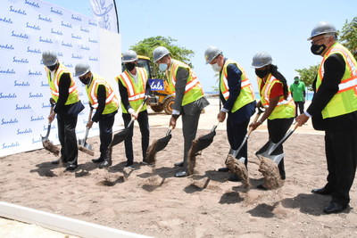 Groundbreaking ceremony, L to R: Chief Executive Officer, Gebhard Rainer; Chief Operations Officer, Shawn DaCosta; Sandals Resorts International's Executive Chairman, Adam Stewart, CD; Prime Minister, The Most Hon. Andrew Holness, ON, MP; Minister of Industry, Investment & Commerce, Hon. Audley Shaw, CD, MP; Minister of State, Ministry of Finance & Public Service, and Member of Parliament for North East, St Ann, Hon. Marsha Smith; Minister of Labour & Social Security, Hon. Karl Samuda, CD, MP