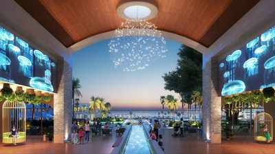 The arrival lobby of Beaches Runaway Bay, where the magic of wood and water will transport families into a new standard of luxury in Jamaica