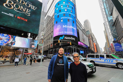 Deepak Chopra pictured with MindMed CEO, JR Rahn during MindMed's Nasdaq Listing