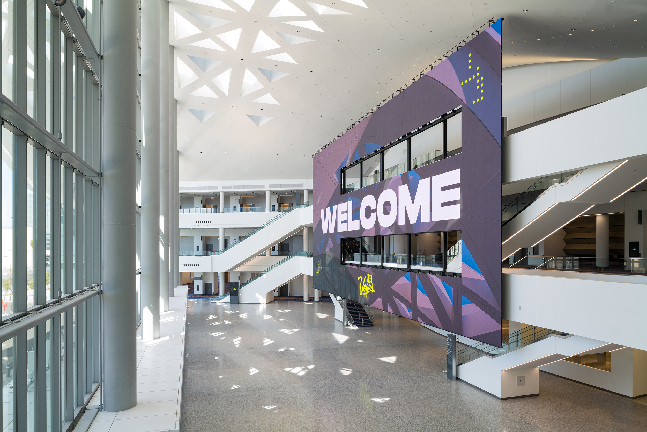 10,000 square foot video wall welcomes guests in the grand atrium of the Las Vegas Convention Center West Hall