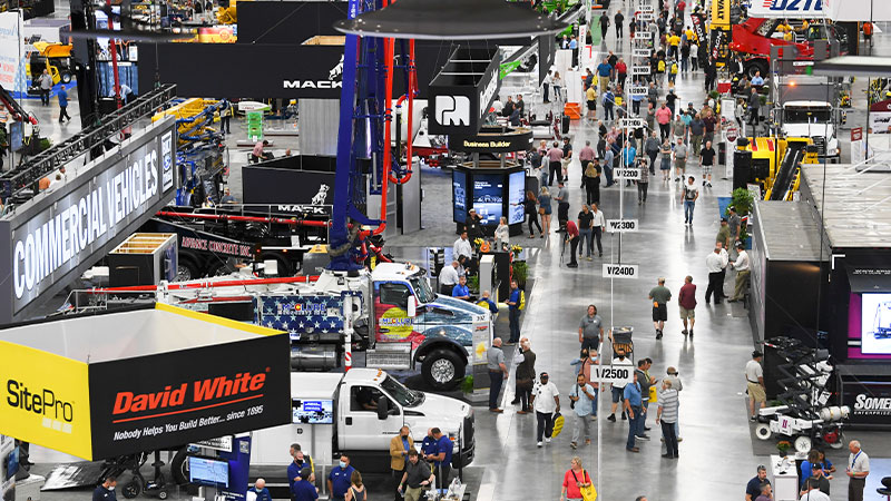 Attendees walk the West Hall exhibit floor at the 2021 World of Concrete