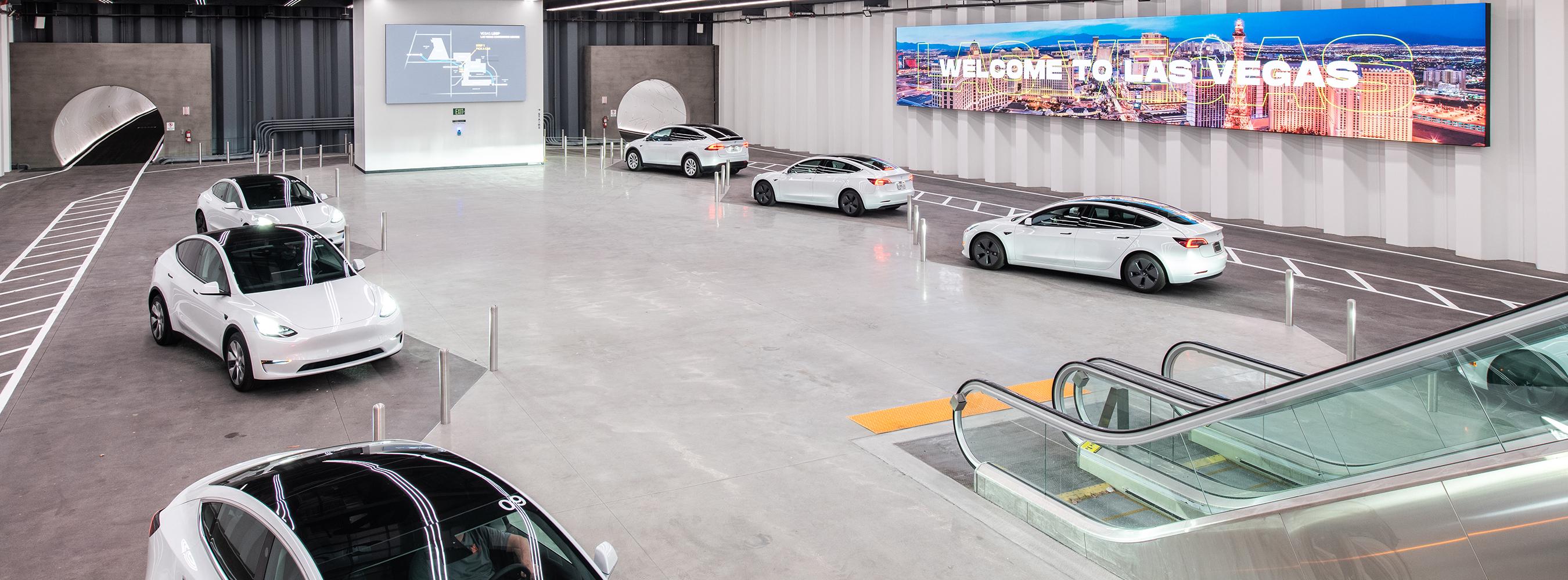 Tesla vehicles parked in the Central Station of the Las Vegas Convention Center Loop