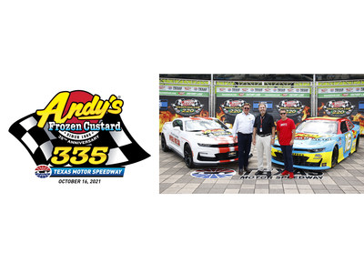 """(From left to right) Andy Kuntz, president of Andy's Frozen Custard; Eddie Gossage, President and GM Texas Motor Speedway; A.J. Allmendinger, Driver of the No. 16 Chevrolet for Kaulig Racing announced today Andy's title sponsorship of the NASCAR Xfinity Series (NXS) race, """"Andy's Frozen Custard 335"""", on October 16 at Texas Motor Speedway. The group also unveiled the paint scheme for Allmendinger's No. 16 Andy's Frozen Custard Chevy, which he will drive in the """"Andy's 335."""""""