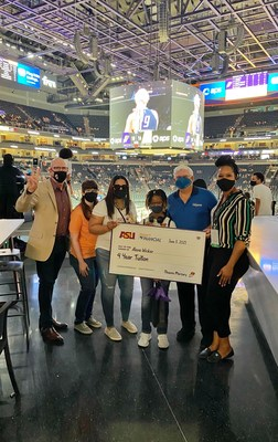 Desert Financial Credit Union, Arizona State University and the Phoenix Mercury presented ASU 12-year-old freshman Alena Wicker with a gift of full tuition coverage to help bring her dream to life.