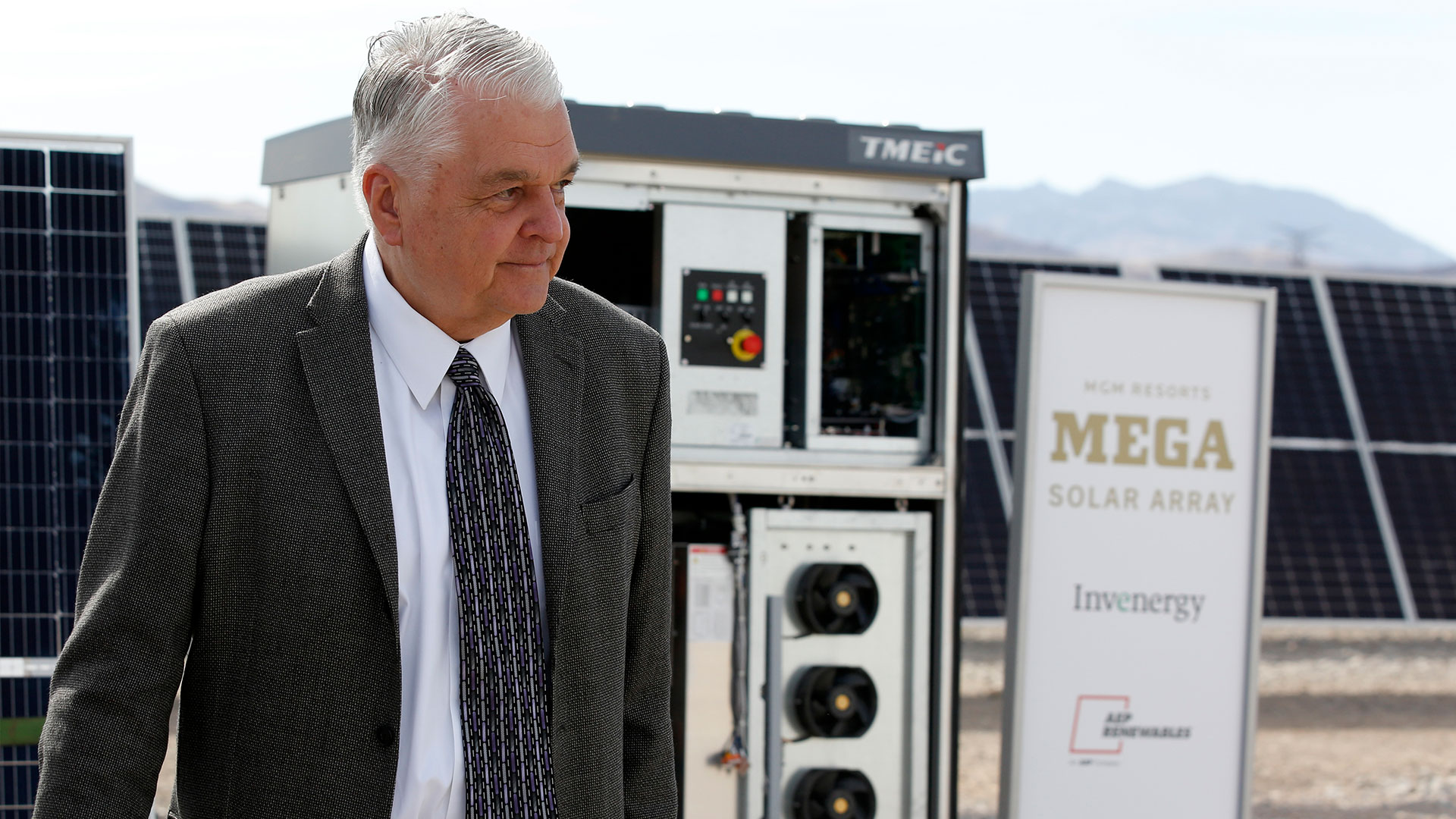 Nevada Governor Steve Sisolak attends the launch of MGM Resorts 100MW solar array.