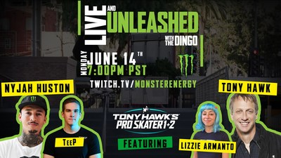 """Monster Energy To Host Tony Hawk, Nyjah Huston, Lizzie Armanto, Tyler """"Teep"""" Polchow In Epic 'Live And Unleashed' Twitch Stream Battle"""