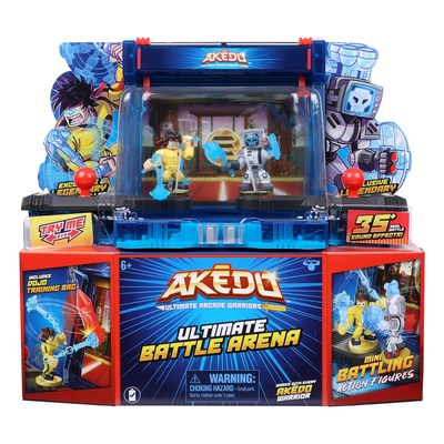 The Ultimate Battle Arena brings the world of Moose Toys' new Akedo ̶ Ultimate Arcade Warriors to life. This arcade inspired electronic arena is where the Akedo warriors can test their skill in ultimate battles. The playset comes with its own theme song and includes two deluxe controllers, two interchangeable backdrops, two exclusive Legendary warrior figures, a detachable training punching bag accessory for practice between battles, and over 35 sound effects to add excitement and humor.