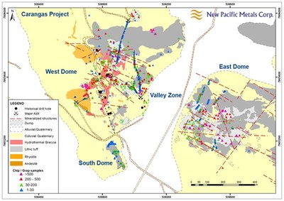 Figure 1: Simplified Geology Map of the Carangas Project (CNW Group/New Pacific Metals Corp.)