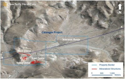 Figure 3: Morphotectonic View of the Carangas Project (CNW Group/New Pacific Metals Corp.)