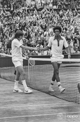 Arthur Ashe, Jimmy Connors (Photo: Keystone/Getty Images) The first African American man to win Wimbledon, Arthur Ashe is pictured in 1975 alongside compatriot Jimmy Connors in full colour. Using one billion colours, the image, originally in black and white, brings new life to the relentless resilience Arthur showed in the face of the societal injustices of his time. One of seven images in OPPO's Courting the Colour campaign, launched today to celebrate the return of Wimbledon. The collection restores the emotion of iconic moments from tennis history, bringing the excitement and passion back to the sport. View here: https://events.oppo.com/en/oppo-and-tennis/#awakencolour