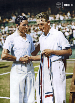 Fred Perry (Photo: AELTC) Pictured here in 1934, cultural icon Fred Perry won 14 Majors before creating his iconic sportswear line, that was inspired by tennis fashion and went on to change the fashion world. Originally in black and white, the image has been reimagined using one billion colours, in partnership with Getty Images, as part of OPPO's Courting the Colour campaign. Launched today to celebrate the return of Wimbledon, the collection restores the emotion of seven iconic moments from tennis history, bringing the excitement, and passion back to the sport for fans. View the collection, here: https://events.oppo.com/en/oppo-and-tennis/#awakencolour