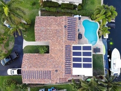 Patented ArteZanos® Hybrid System with various ArteZanos® Flexible Solar Modules over ArteZanos® Solar Thermal R.I.S.A. (Roof Integrated Solar Absorber).Photo: Courtesy of Chris Porosky of All Phase Construction U.S.A., LLC Deerfield Beach, Florida.