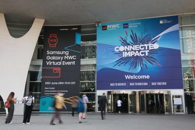 Entrance to MWC21 in Barcelona (PRNewsfoto/GSMA)
